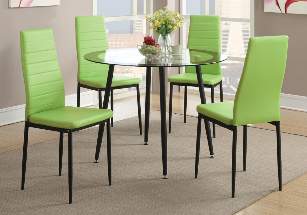 Set of 4 retro dining chairs w faux leather black metal for Leather dining chairs with metal legs