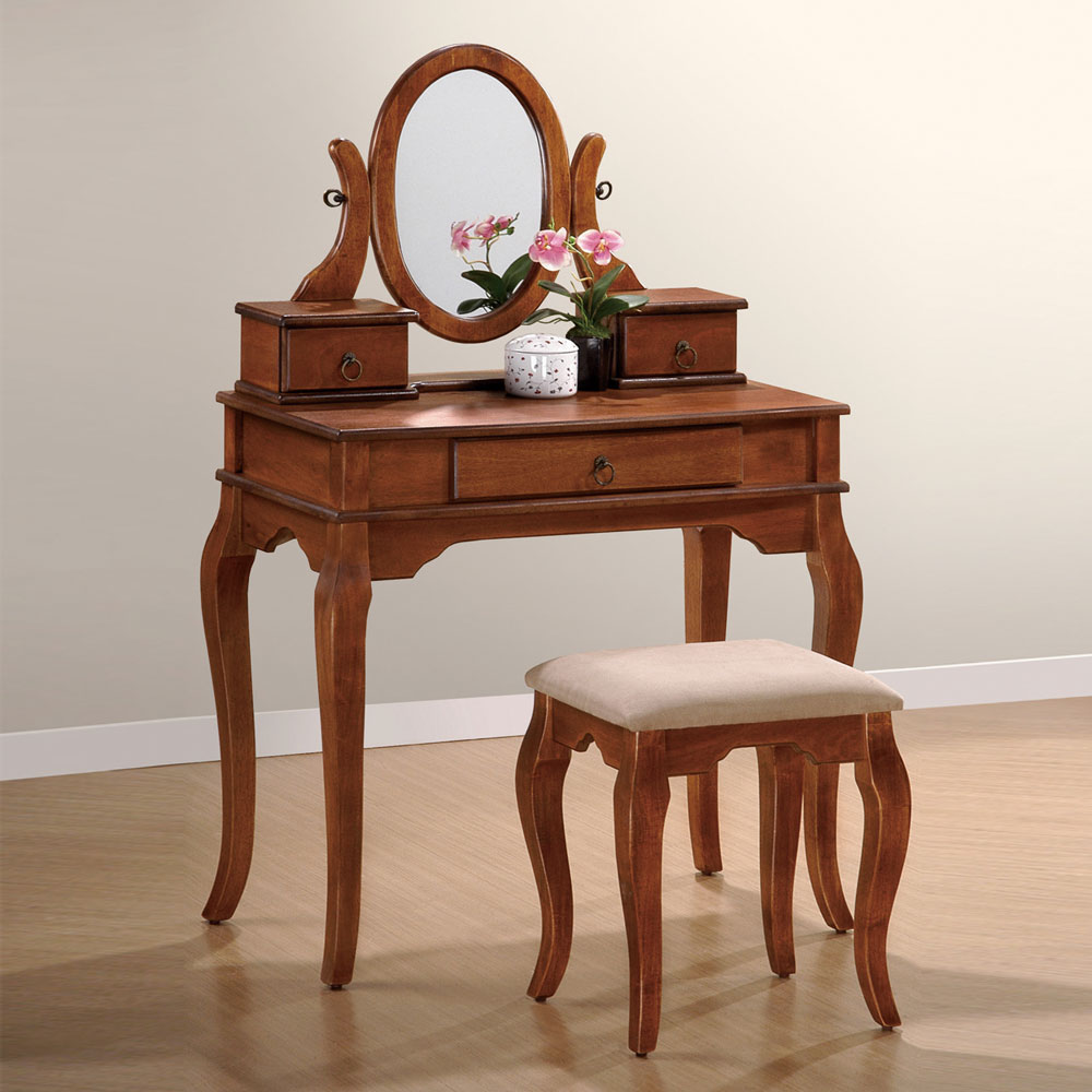 Elegant Warm Walnut Oval Mirror Makeup Vanity Set With Curved Legs 3 Drawers
