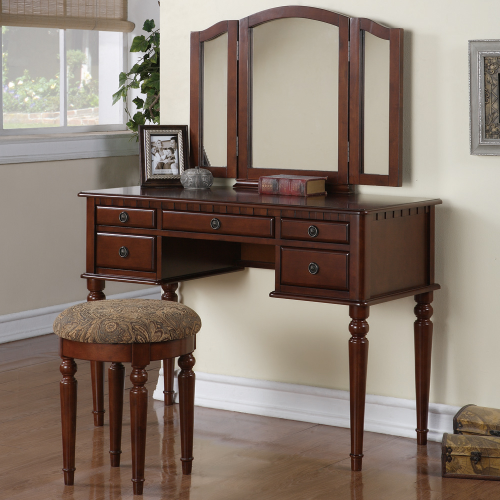 Tri folding mirror vanity set makeup table dresser w stool 5 drawer cherry wood ebay - Stool for vanity table ...