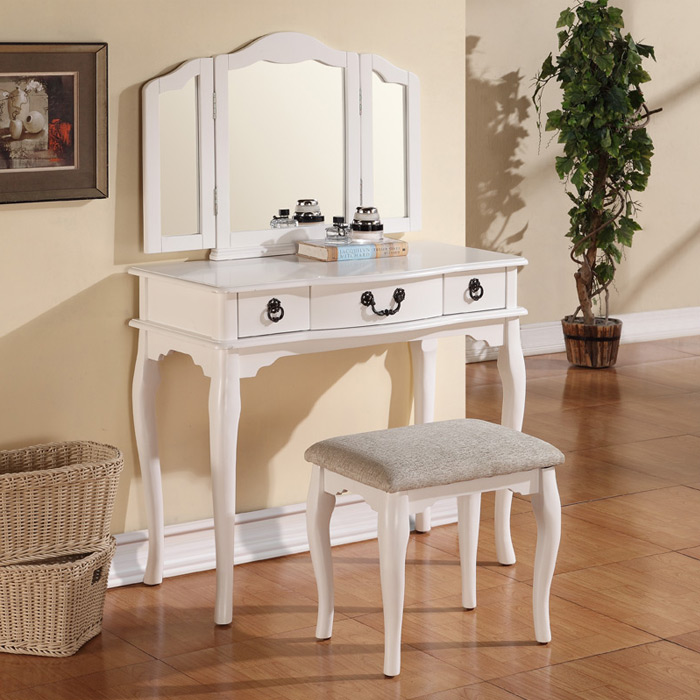 Tri Folding Mirror White Wood Vanity Set Makeup Table