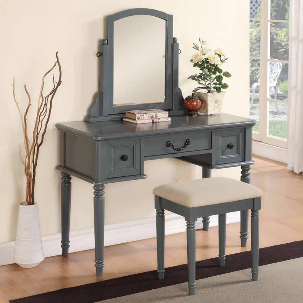 Modern vanity makeup make up table dresser w 3 drawers for Modern make up table
