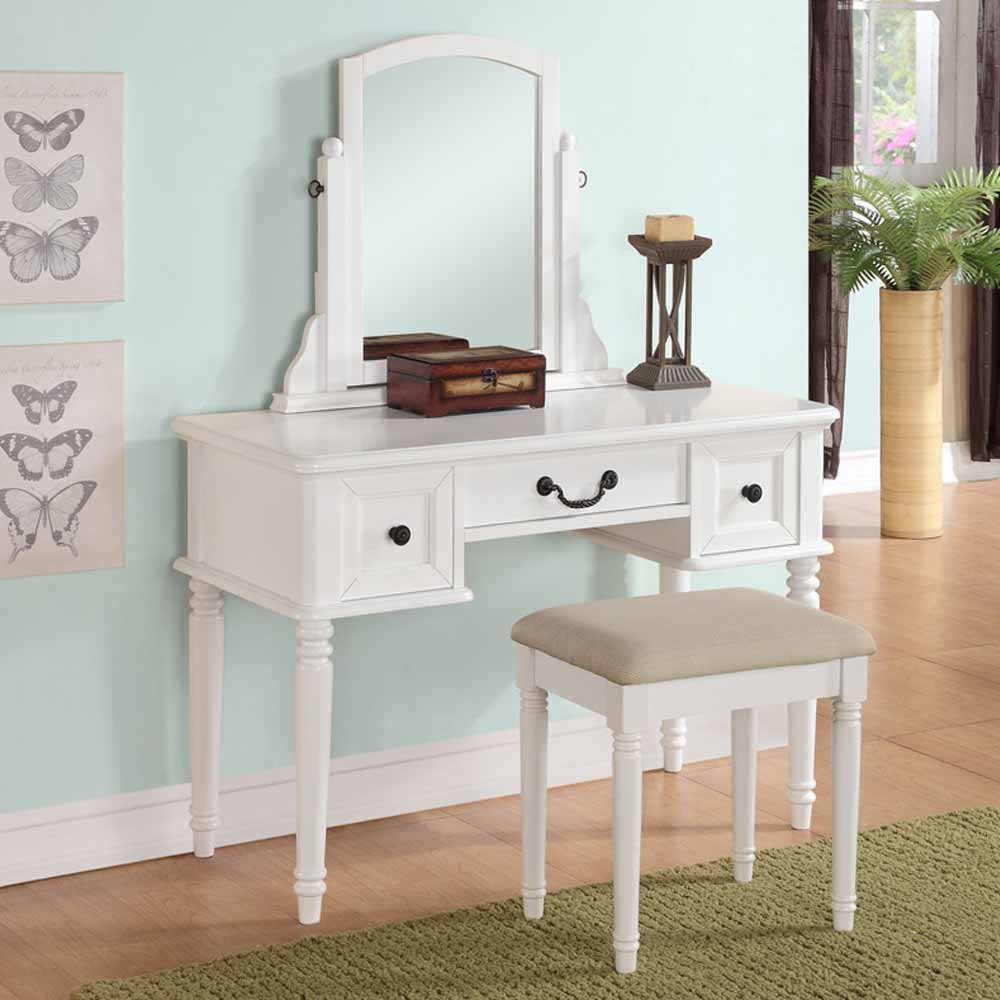Modern vanity makeup make up table dresser w 3 drawers for White vanity table with drawers