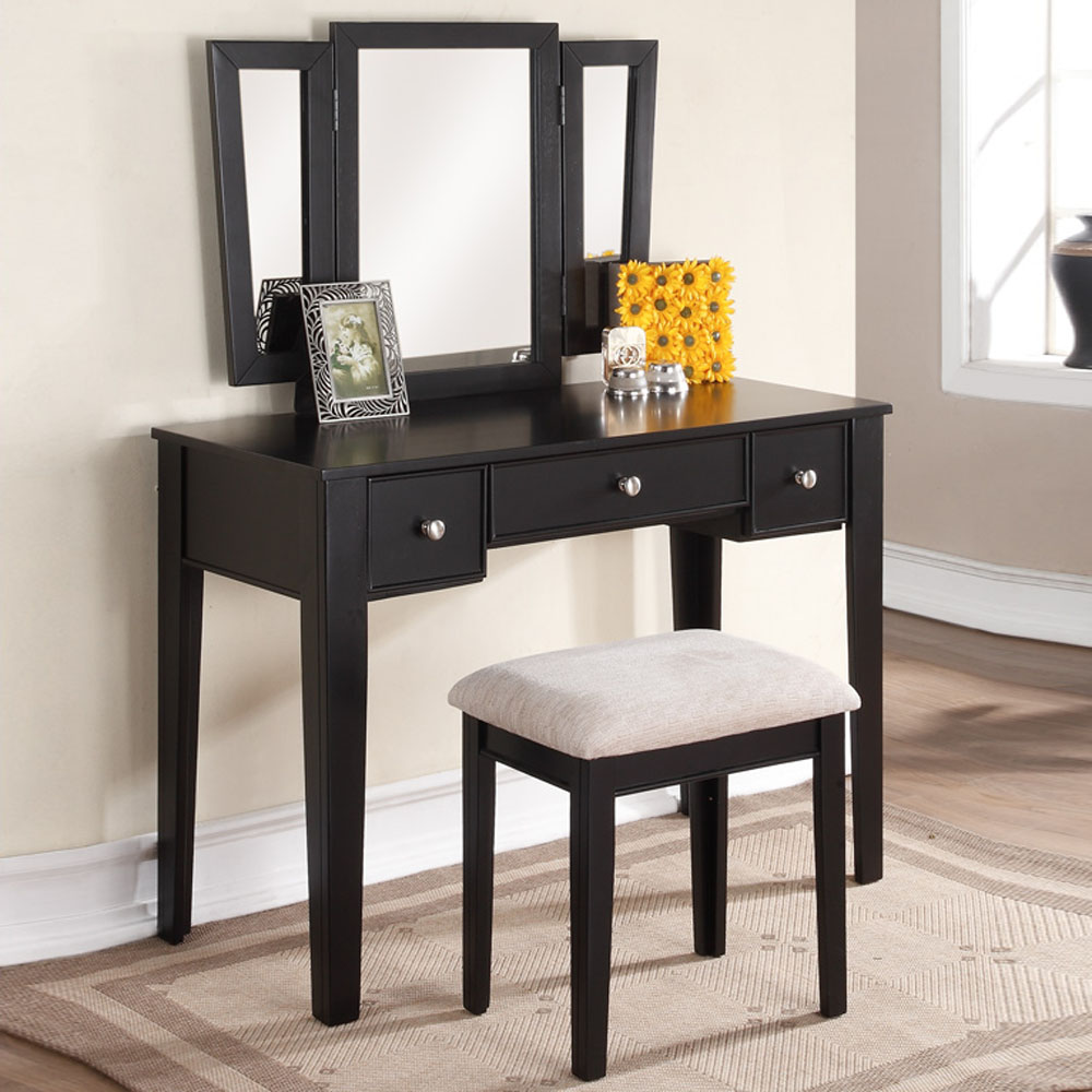 Tri folding mirror vanity makeup dresser table stool bench for Vanity with mirror and stool