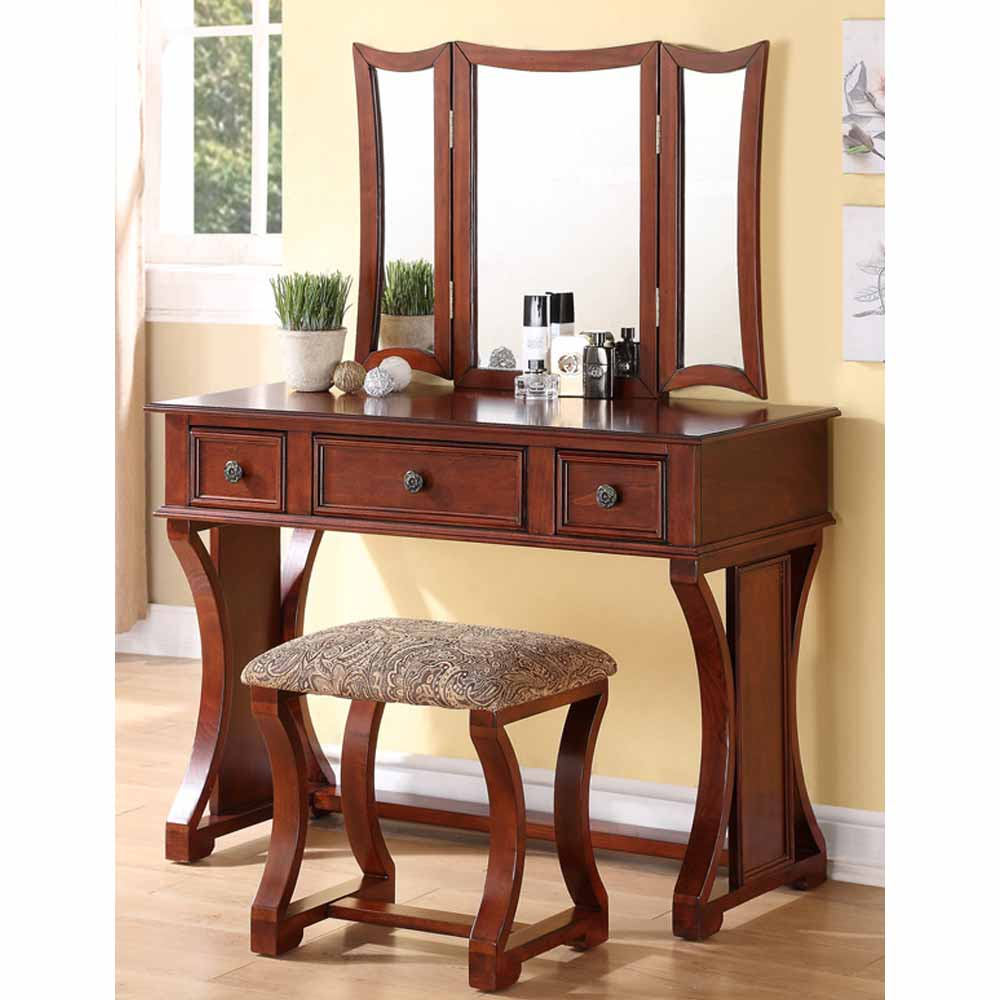 Tri Folding Mirror Curved Lines Vanity Makeup Table Bench Set 3 Drawers Cherry Ebay