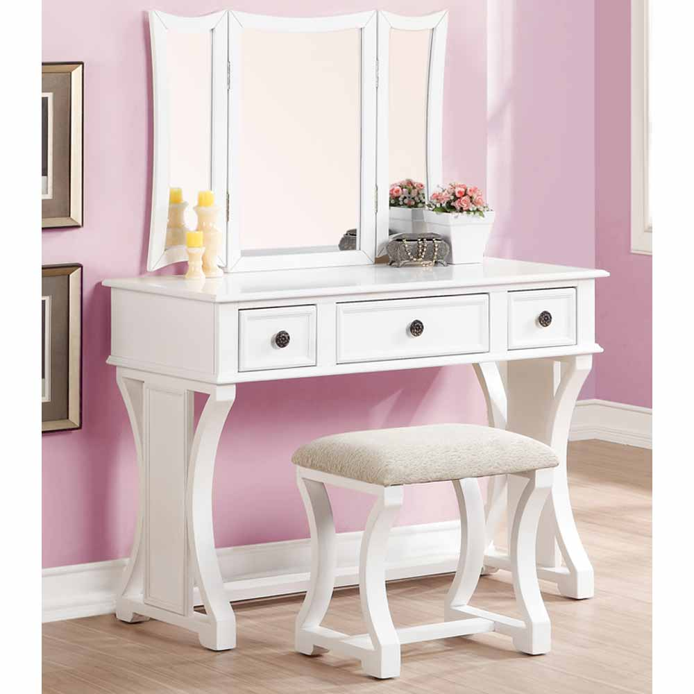 Tri Folding Mirror Curved Lines Vanity Makeup Table Bench Set 3 Drawers In Wh