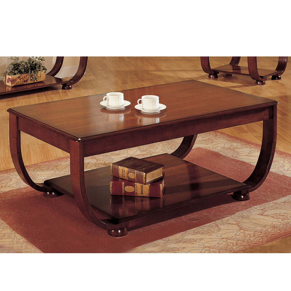 Accent curved decor wood coffee cocktail table dark cherry w 1 shelf storage ebay Cherry wood coffee tables