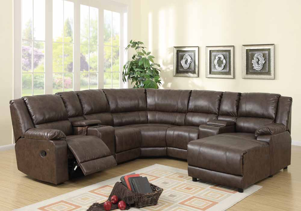 4pc franklin ii sectional recliner chaise couch set light - Leather reclining sectional with chaise ...