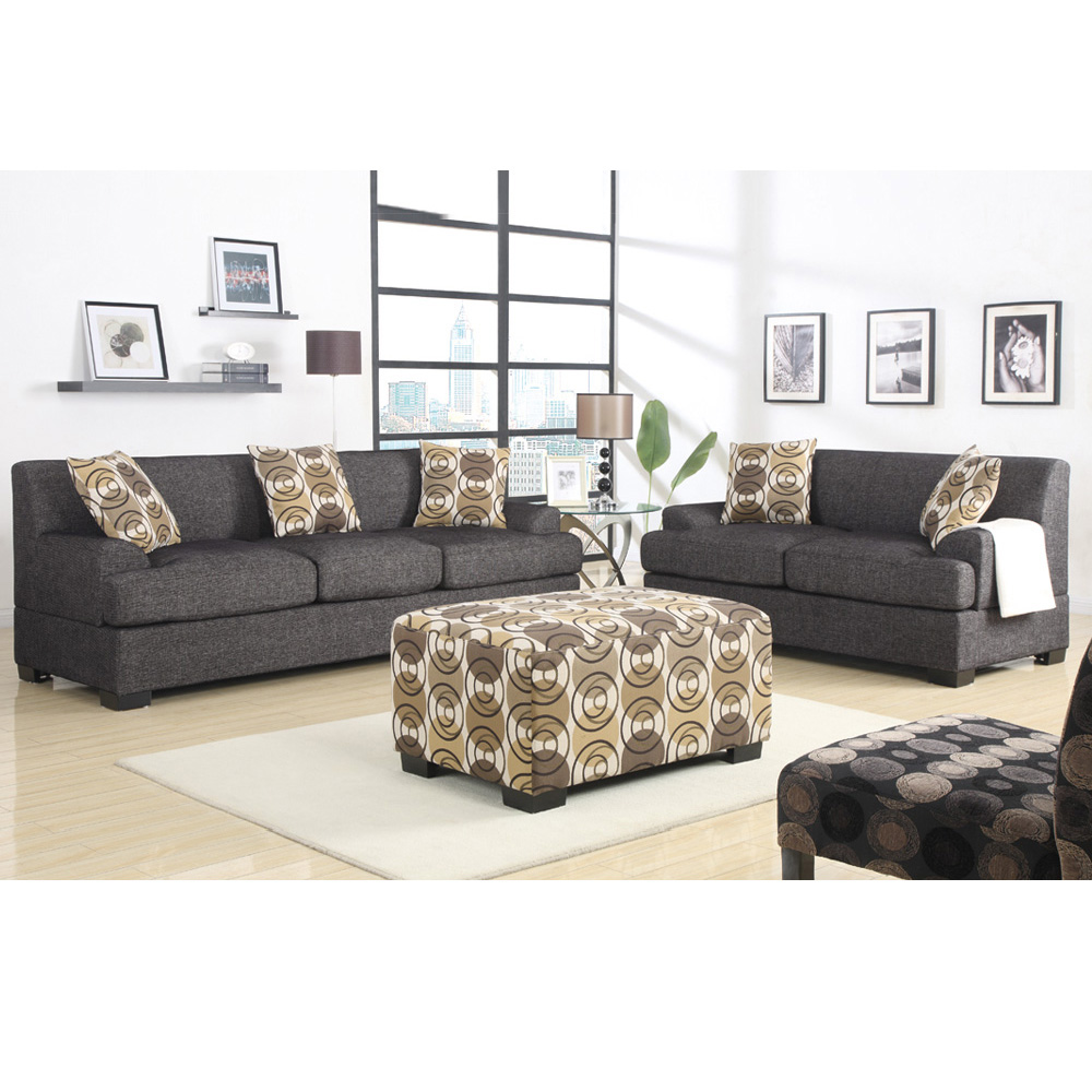 2 pc Microfiber Faux Leather Reversible Sectional 3 Seat Sofa Loveseat Couch Set 6