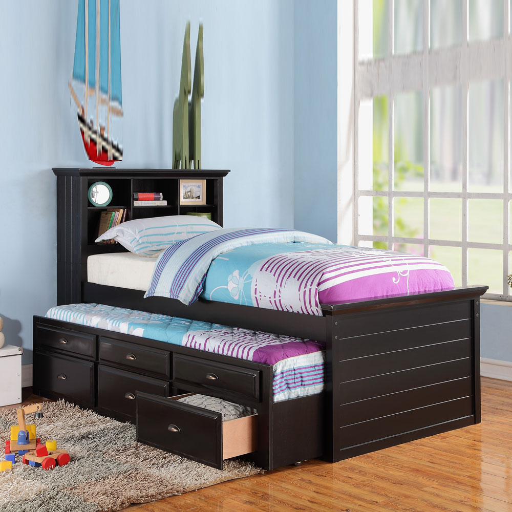 kids twin bed build in bookcase headboard trundle 3 storage drawers black cherry. Black Bedroom Furniture Sets. Home Design Ideas