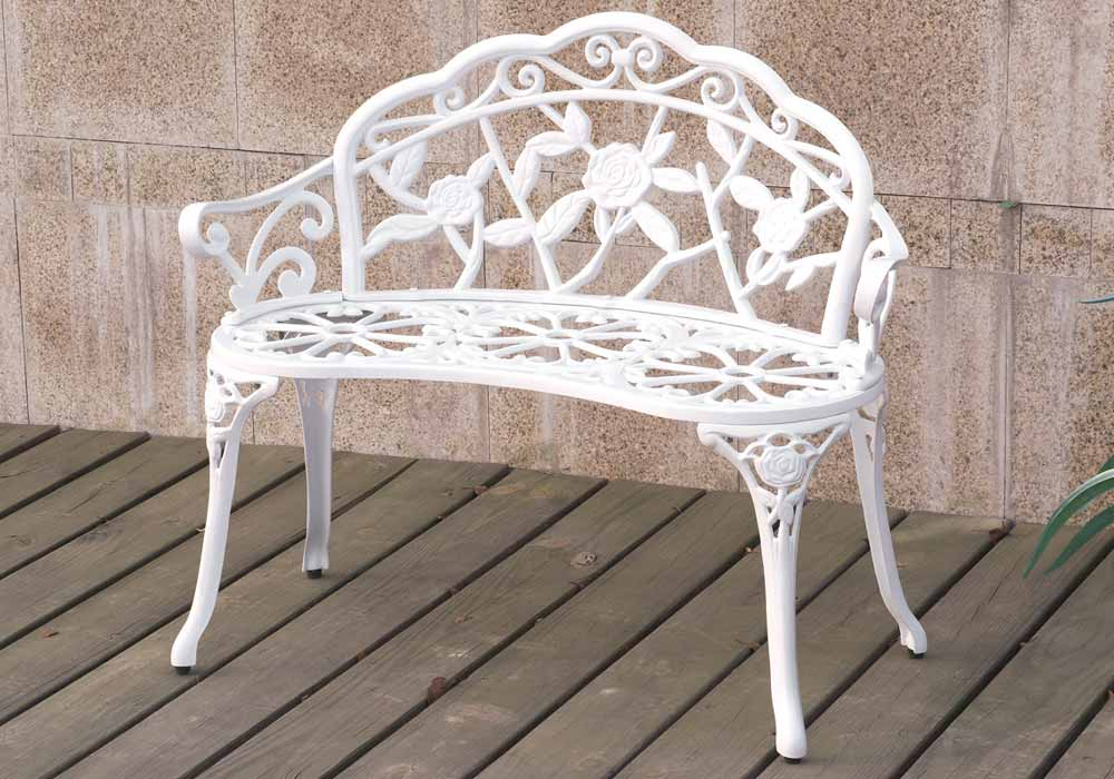 Outdoor Patio Garden Park Metal Iron Bench Romace Antique Rose Decor In White Ebay