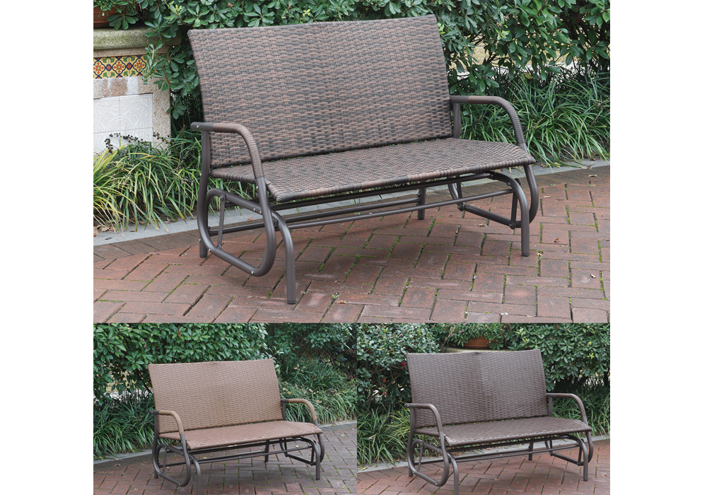 Outdoor Patio Yard Glider Loveseat Bench High Back Pe Wicker Rattan Iron Frame Ebay