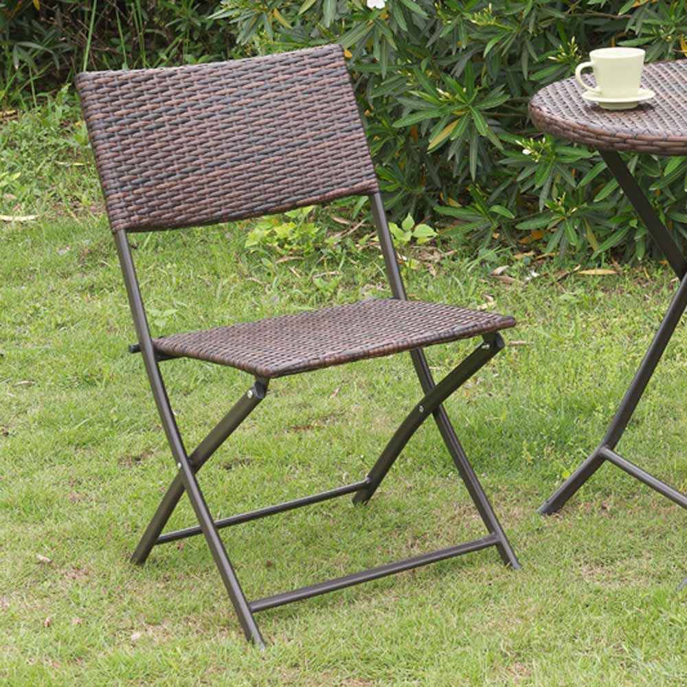 2 Pc Casual Patio Outdoor Garden Deck Foldable Folding Chairs Resin Wicker Br