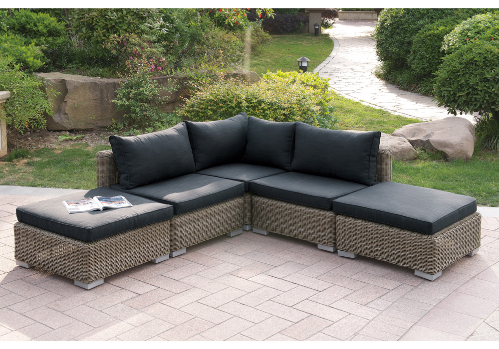 Outdoor patio sectional sofa set tan pe wicker chaise for Black outdoor wicker chaise