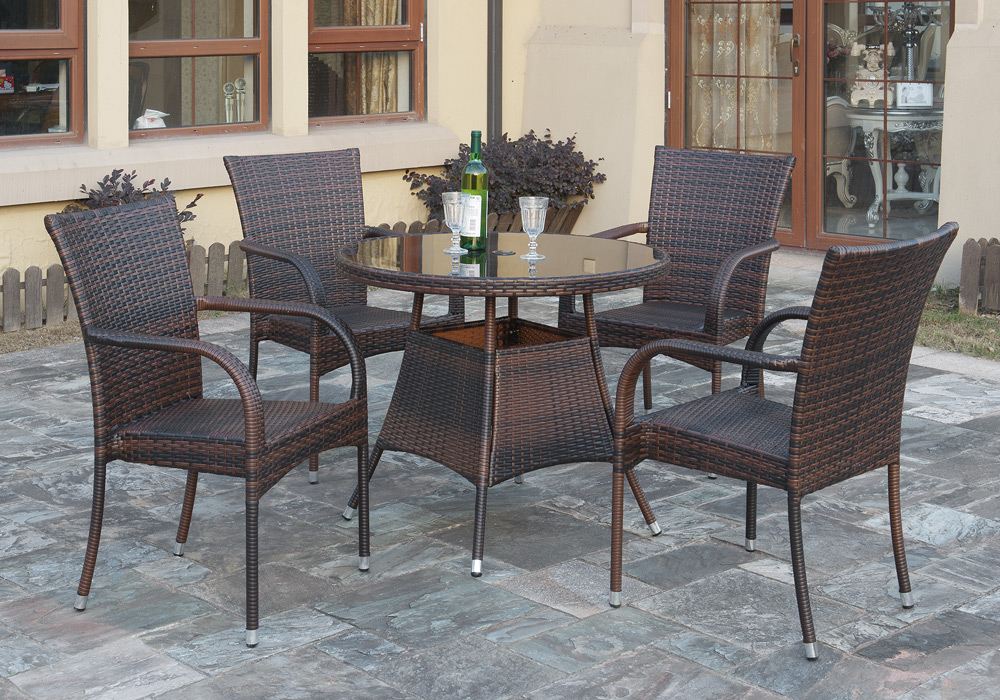 5 Pc Outdoor Patio Dining Set Round Glass Table Rattan Wicker Stackable Chair