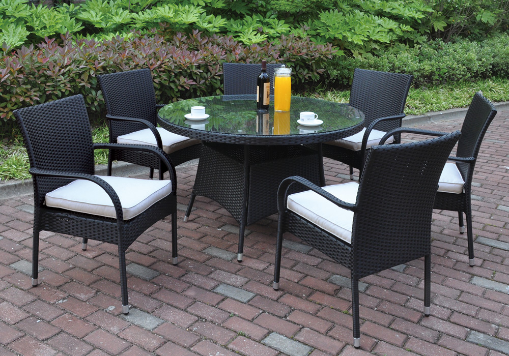pcs outdoor patio dining set round glass table black pe resin wicker