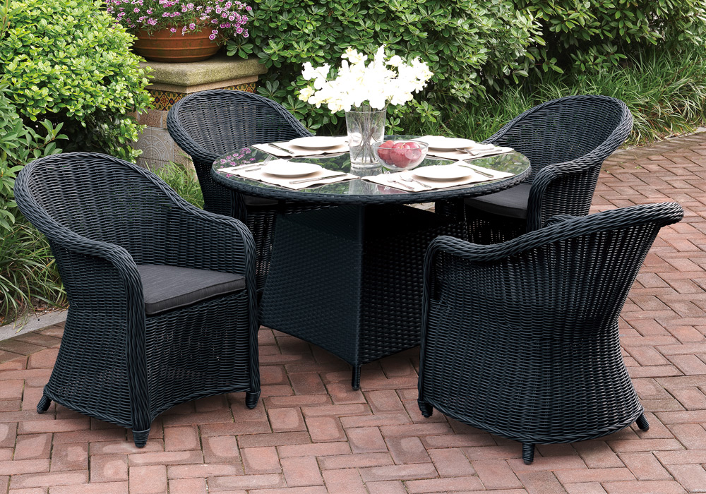 Outdoor Patio Dining Set Round Glass Table High Back Arm Chair PE Rattan Wick