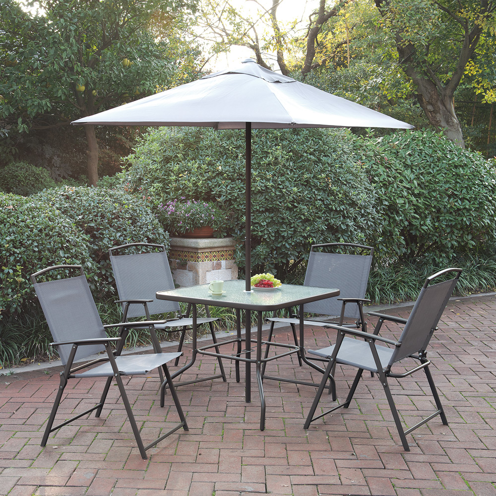 Patio Table Sets With Umbrella: Outdoor Patio Furniture Dining Set Cream Umbrella Foldable