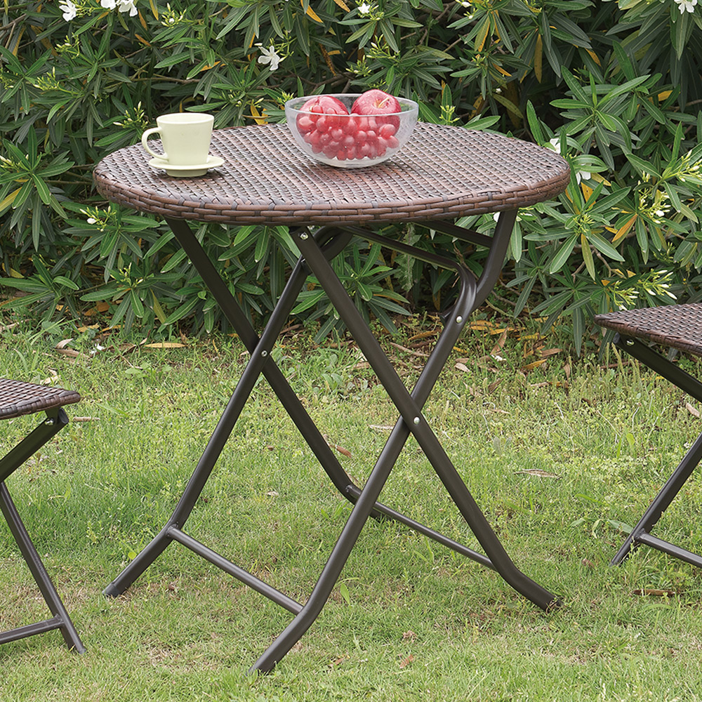 outdoor patio yard garden portable folding round dining table pe wicker steel. Black Bedroom Furniture Sets. Home Design Ideas