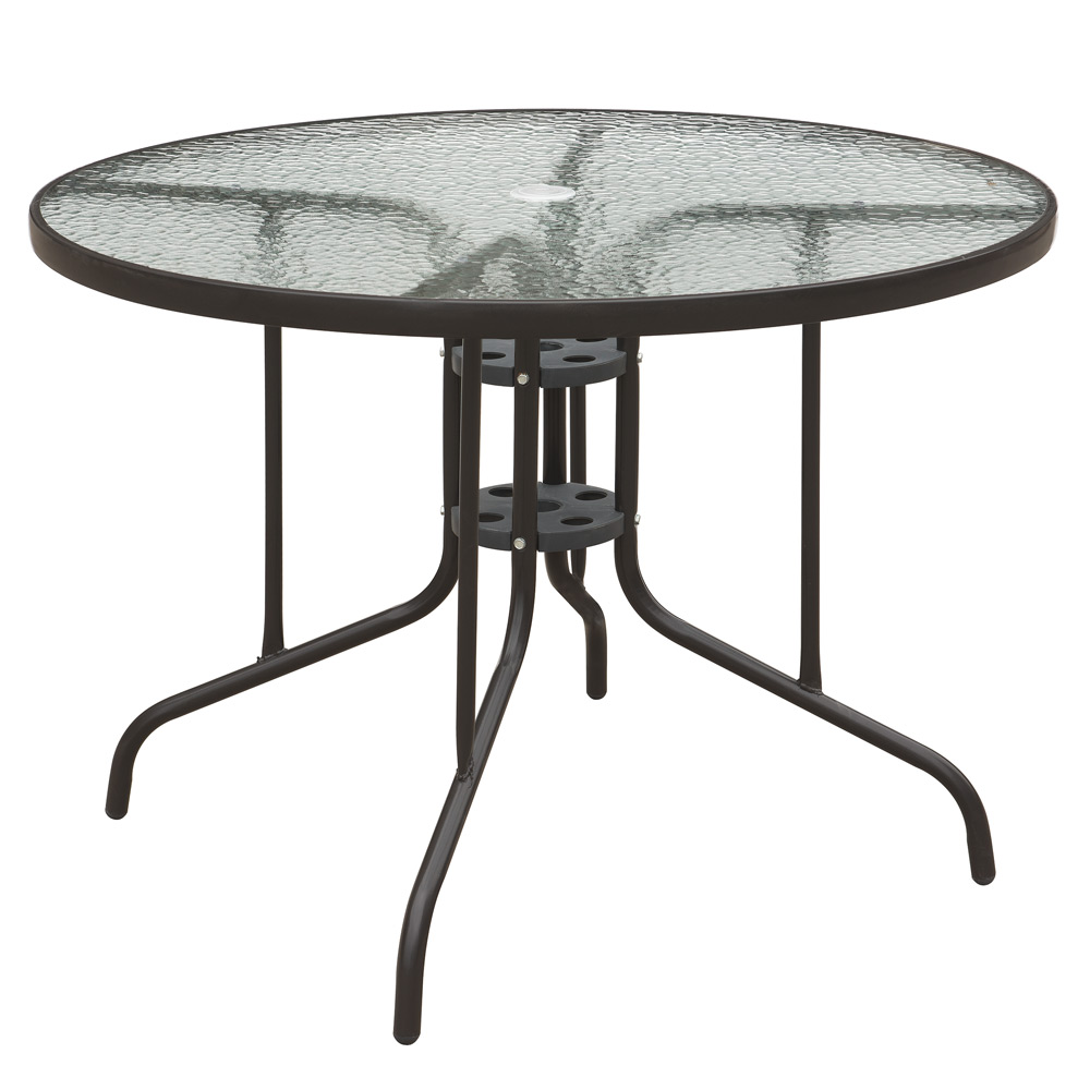 Patio outdoor garden yard round dining table frosted glass for Frosted glass dining table