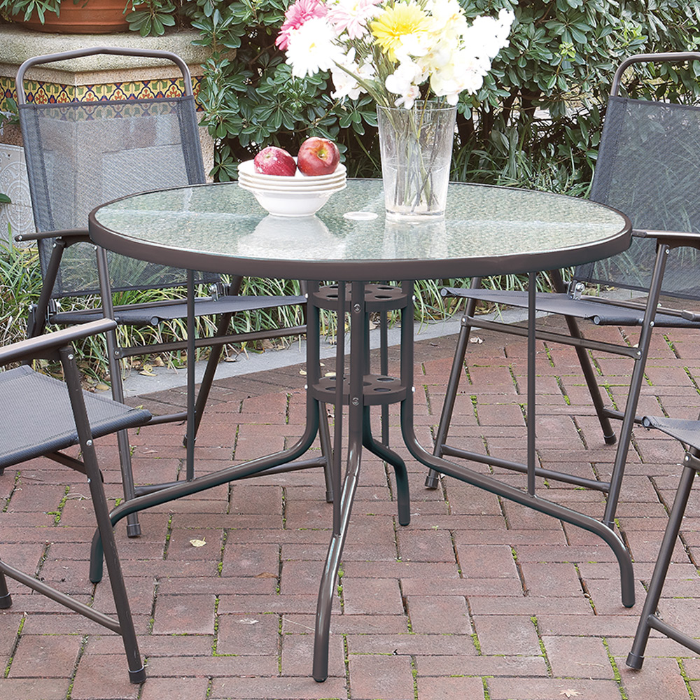 Patio outdoor garden yard round dining table frosted glass for Outdoor dining table glass top