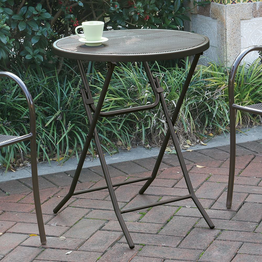 Outdoor Patio Garden Yard Folding Foldable Round Dining Table Mesh Metal Stee