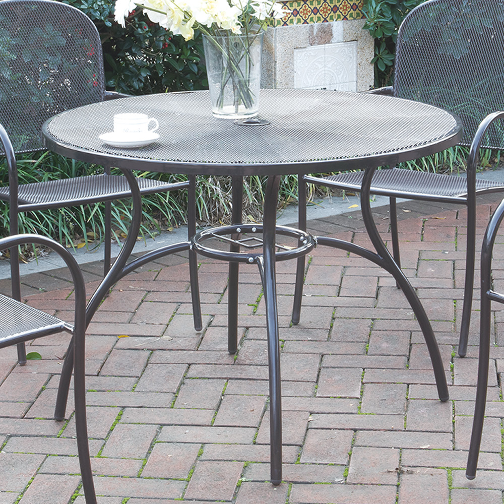casual outdoor patio garden yard round dining table mesh metal top steel frame ebay. Black Bedroom Furniture Sets. Home Design Ideas