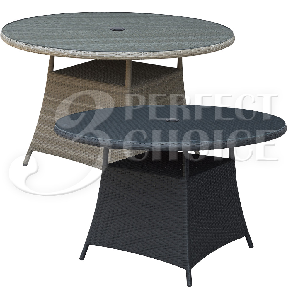 Modern Outdoor Patio 60 Inch Dia Dining Round Glass Table PE Resin Rattan Wic