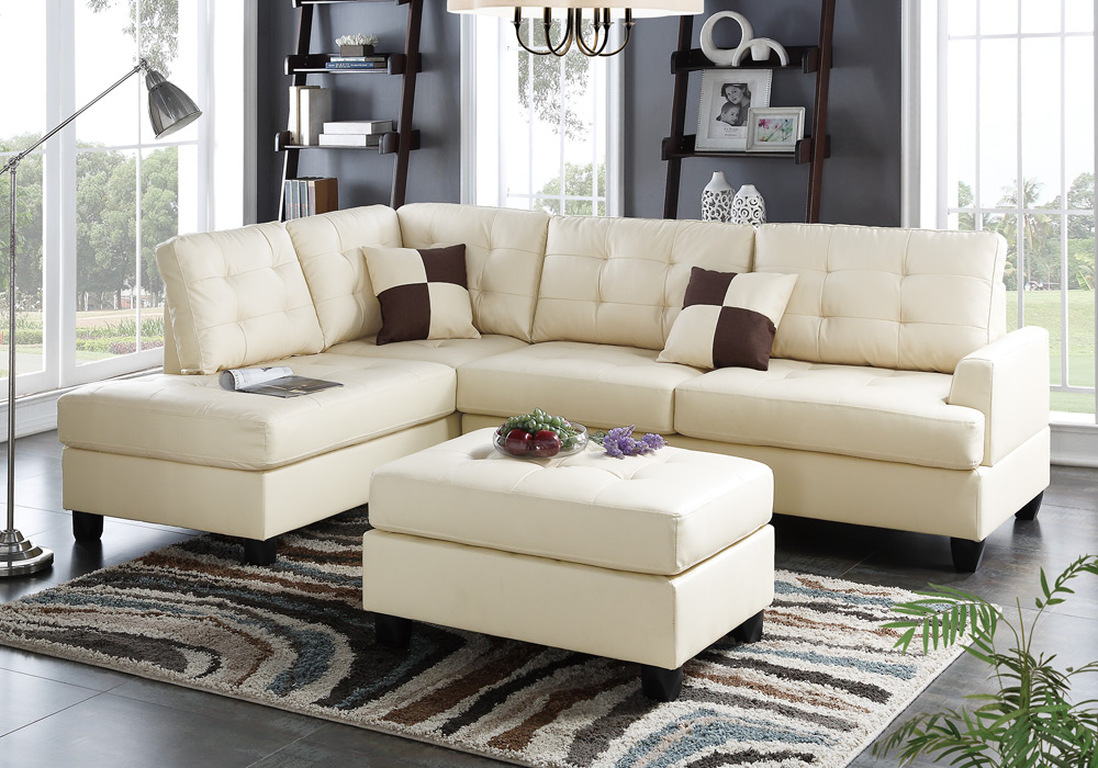 Sectional sofa corner couch reversible chaise tufted for Beige sectional with chaise