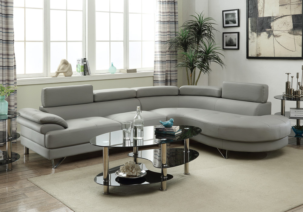 Living Room Curved Sectional Sofa Couch Round Chaise Grey ...