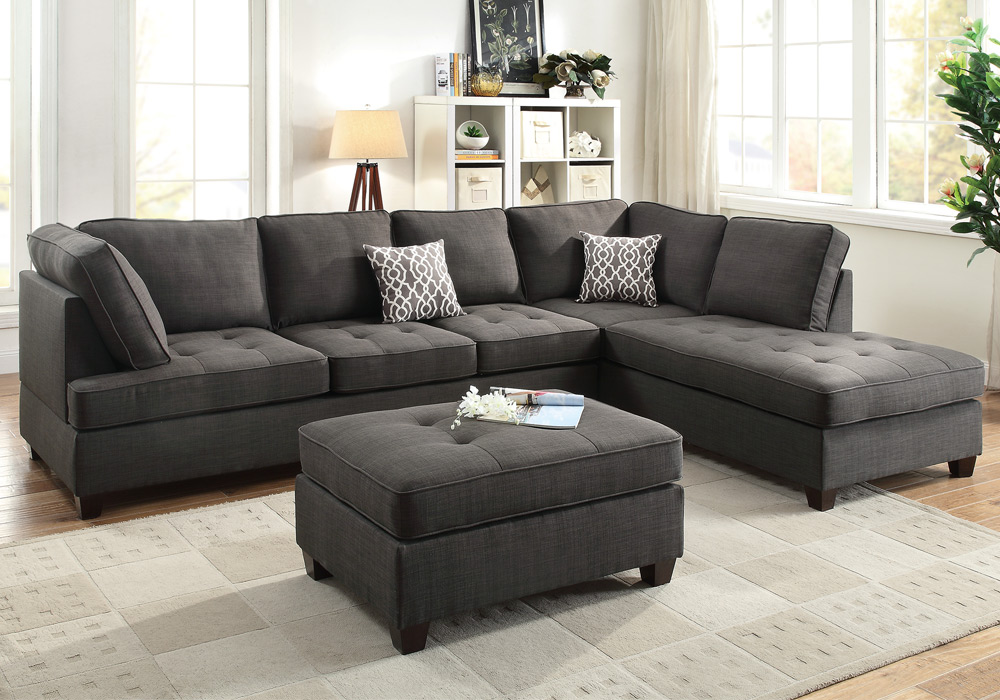 Reversible sectional sofa chaise ottoman tufted seat ash for Black fabric sectional sofa with chaise