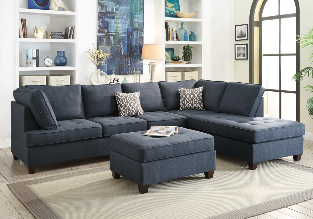 Reversible Sectional Sofa Chaise Ottoman Tufted Seat Dark Blue Dorris Fabric
