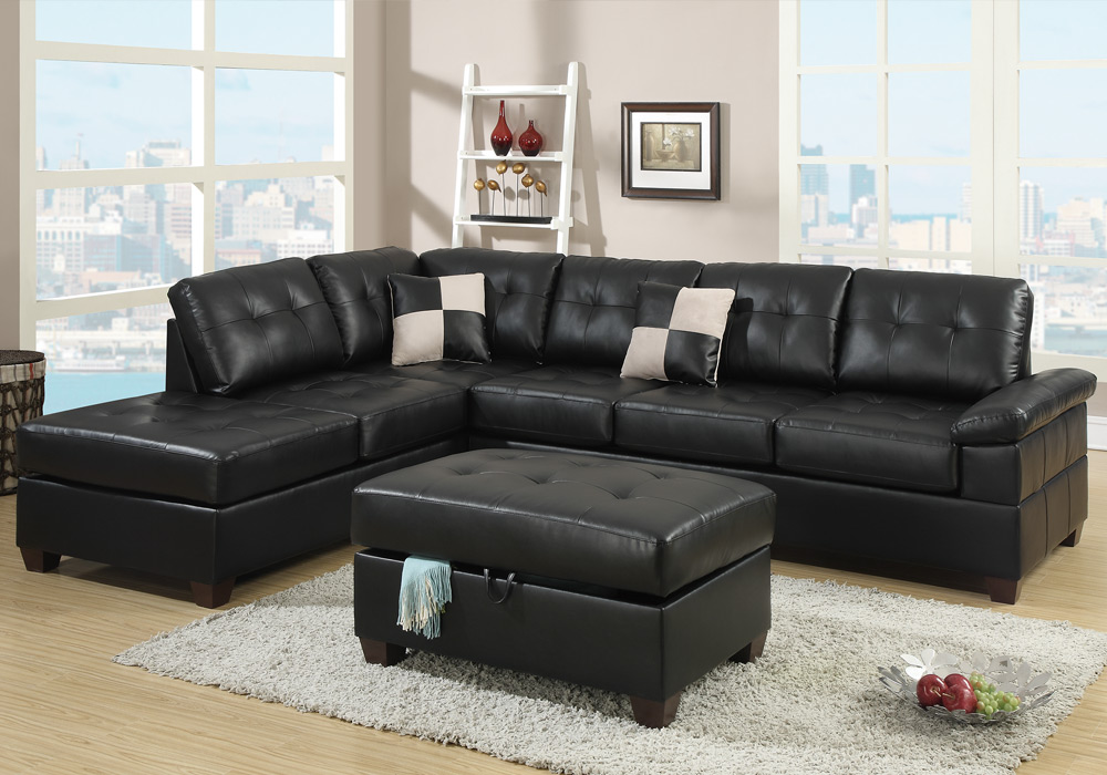 New reversible sectional sofa chaise storage ottoman for Bonded leather chaise