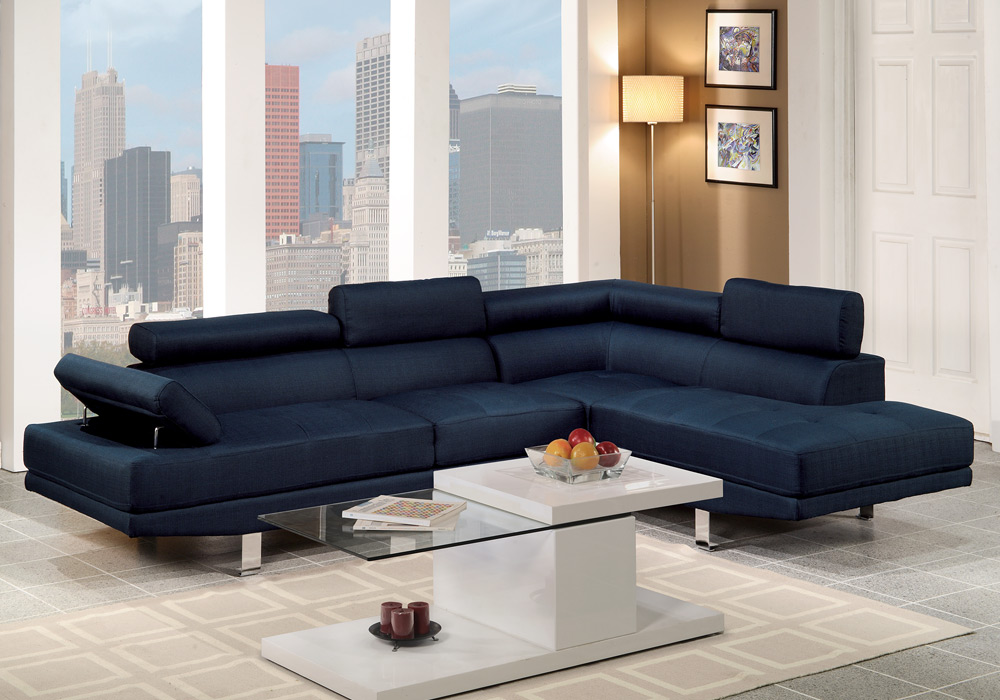 contemporary sectional sofa couch chaise flip up headrest armrest blue polyfiber ebay. Black Bedroom Furniture Sets. Home Design Ideas
