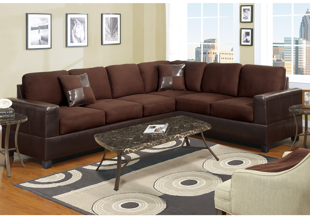 2 pc Microfiber Faux Leather Reversible Sectional 3 Seat Sofa Loveseat Couch Set 3