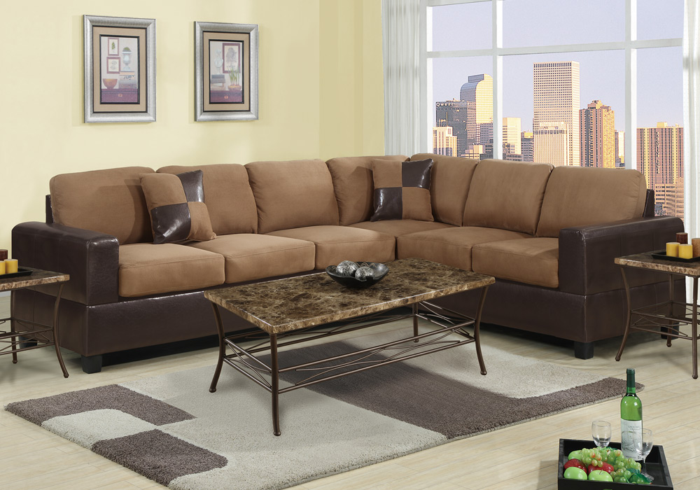 2 pc Microfiber Faux Leather Reversible Sectional 3 Seat Sofa Loveseat Couch Set 4