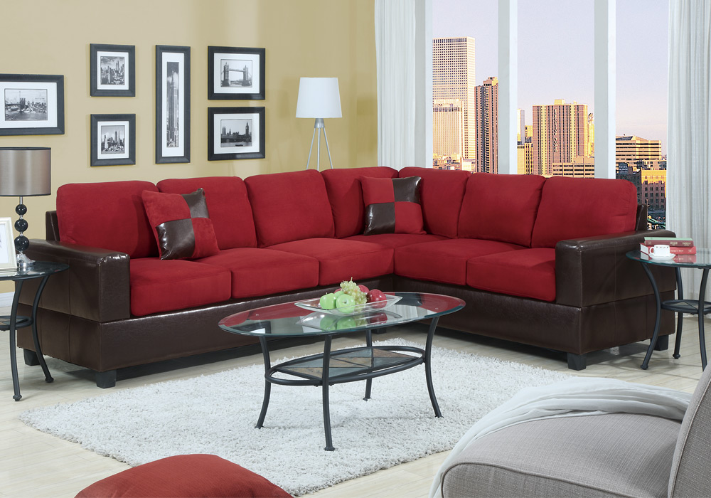 2 pc Microfiber Faux Leather Reversible Sectional 3 Seat Sofa Loveseat Couch Set 5
