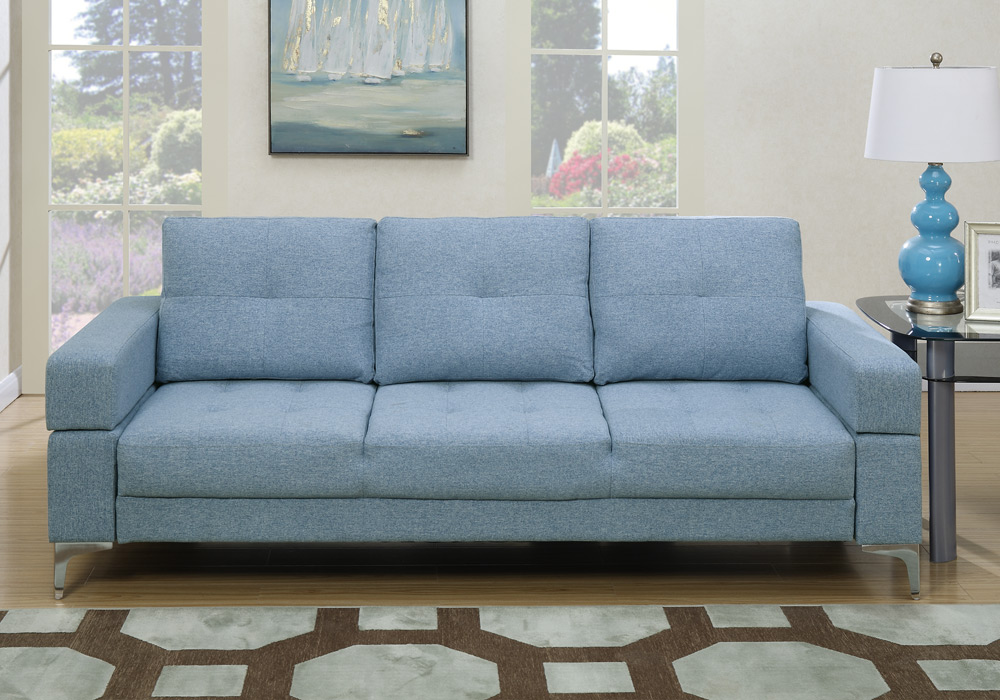 Living Room Adjustable Sofa Bed Couch Futon Tufted Light Blue Fabric Metal Le