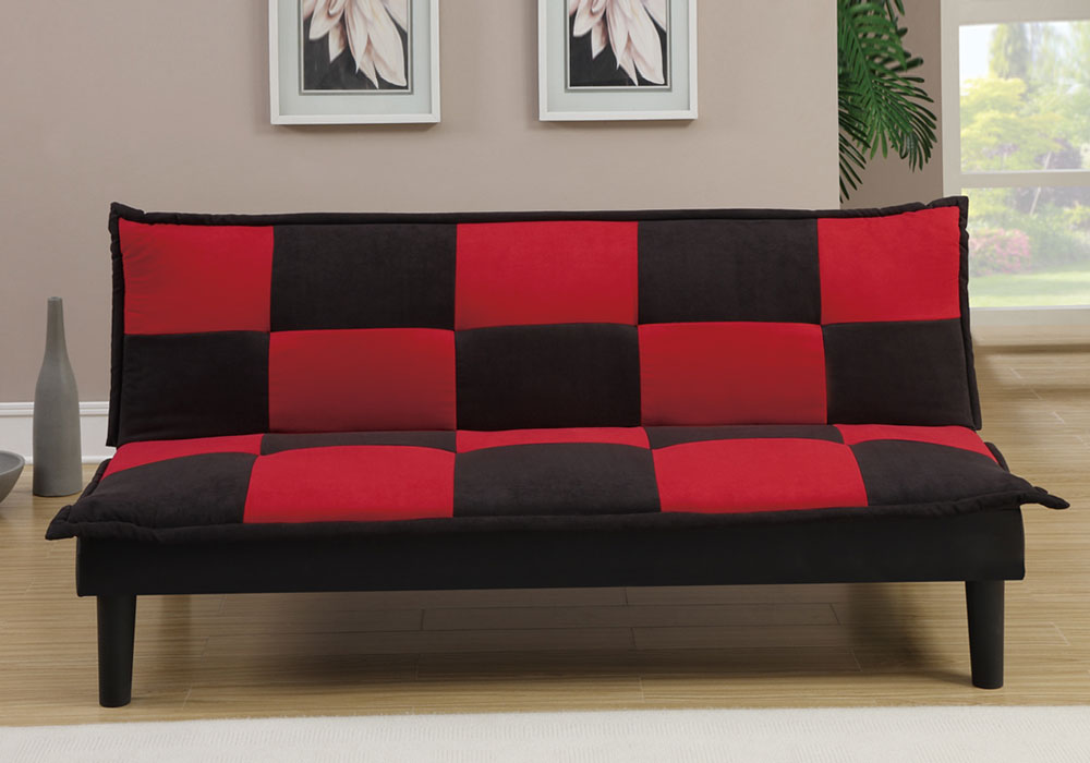 Living Furniture Adjustable Sofa Bed Futon Couch Black Red