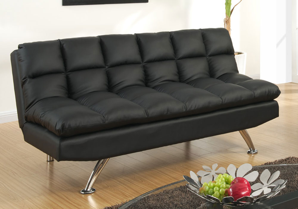 Modern adjustable sofa futon bed chair sectional chaise for Black faux leather chaise lounge
