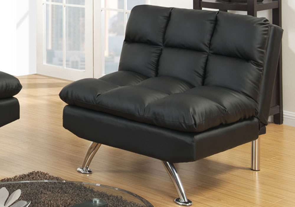 Modern living room adjustable chair flat chaise futon for Black faux leather chaise lounge
