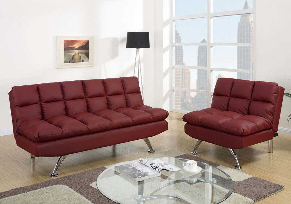 Modern adjustable sofa futon bed chair sectional chaise for Burgundy chaise