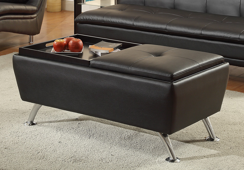 modern living cocktail coffee table ottoman flip over trays black faux leather ebay. Black Bedroom Furniture Sets. Home Design Ideas