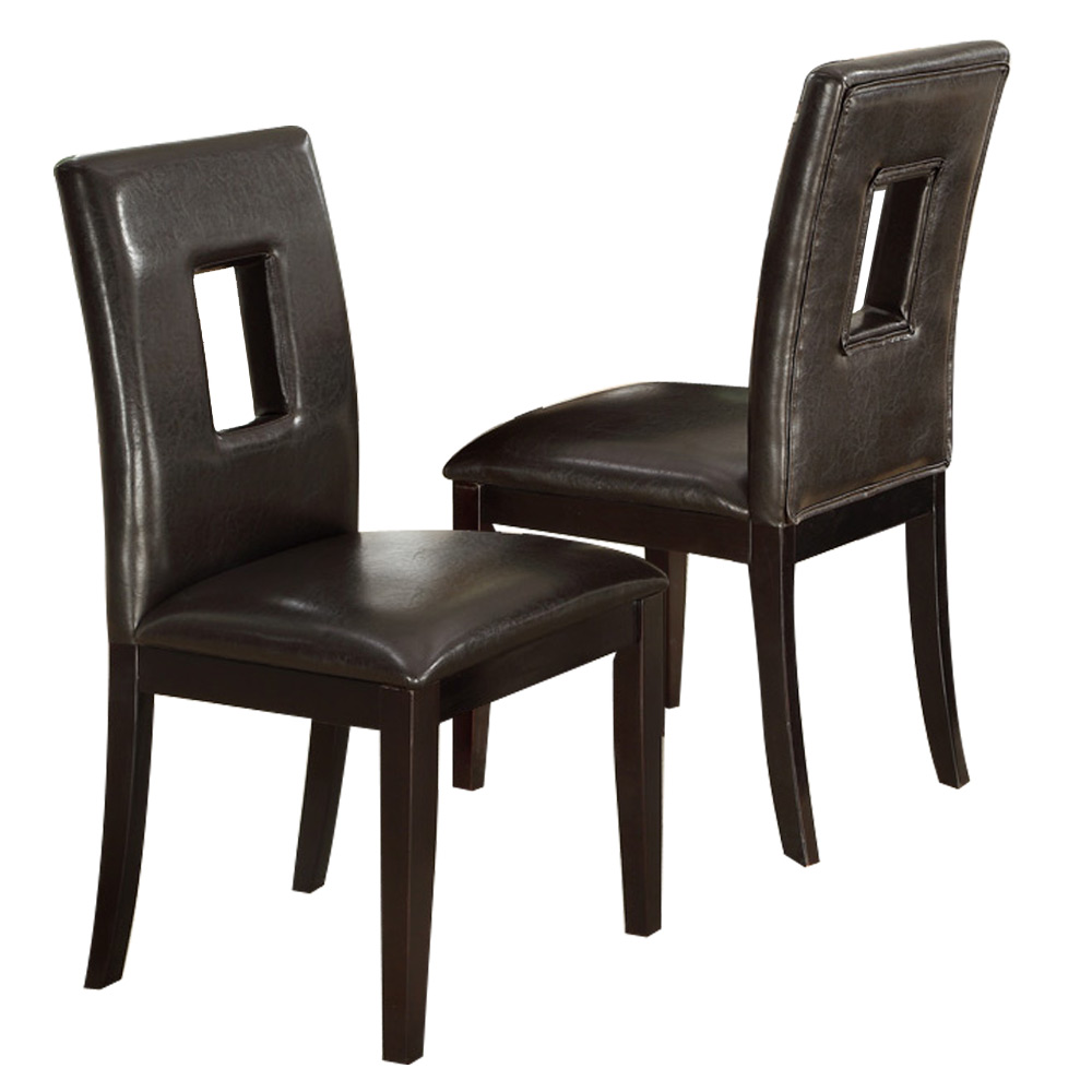 Set of 2 upholstered high back dining side chair stool for Faux leather dining chairs