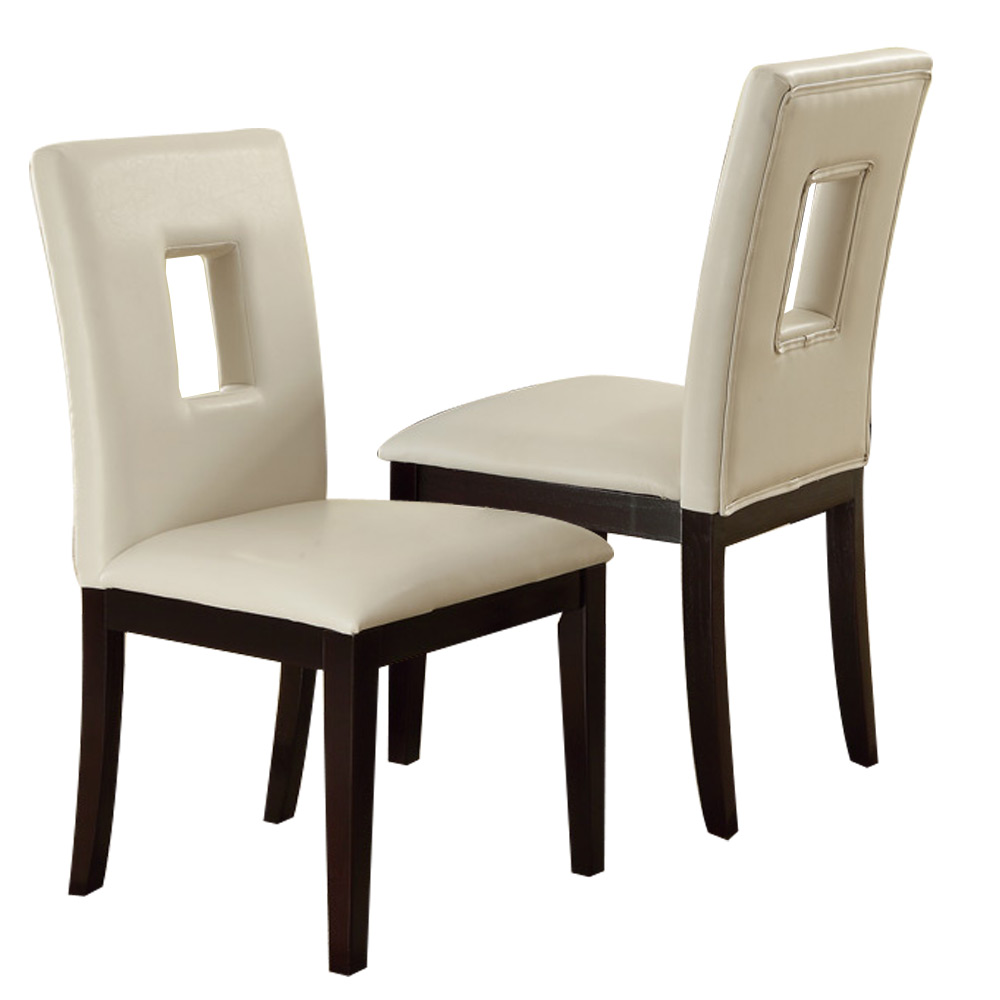Set of 2 upholstered high back dining side chairs stools for Modern leather dining room chairs