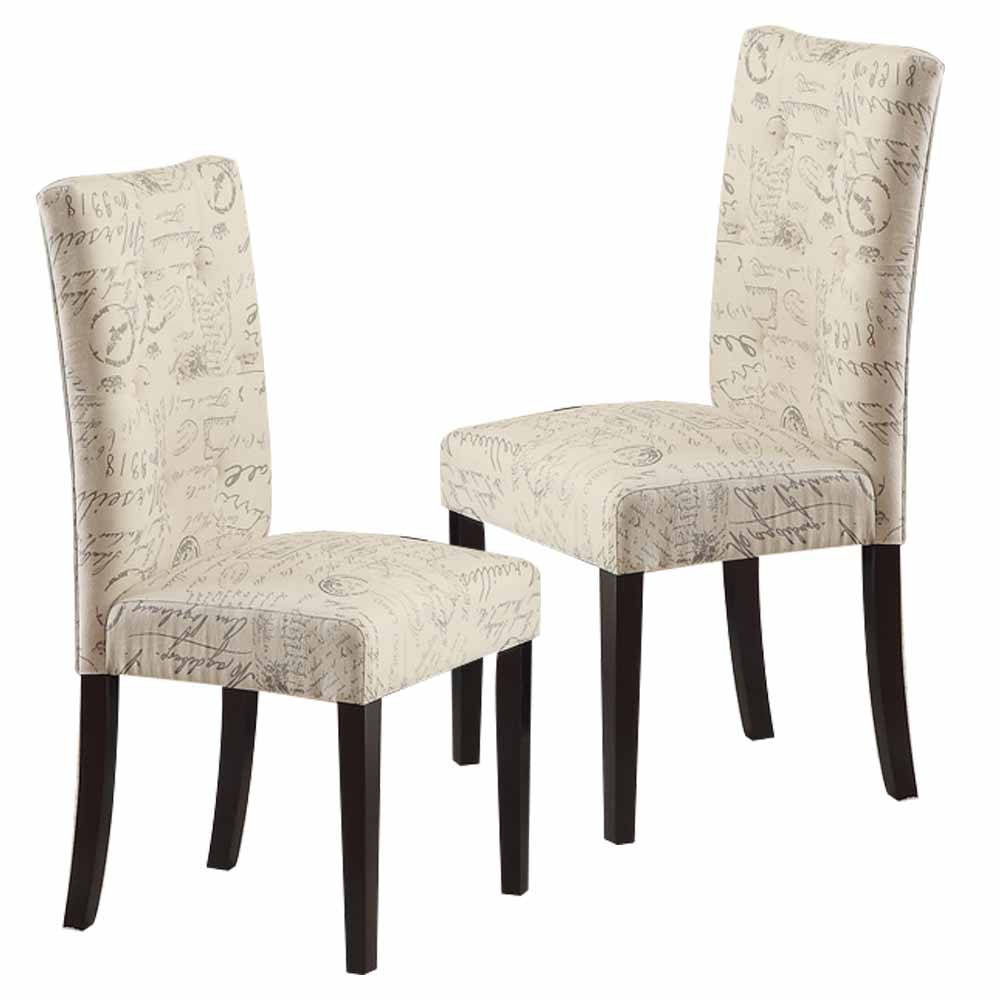 Set of 2 Dining Side Chair Upholstery French Script Micro