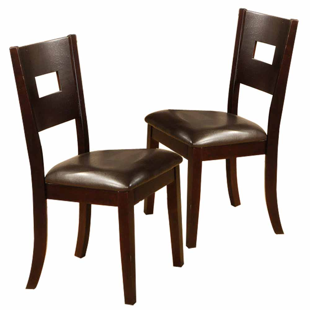 dining room side chairs stools dark brown pu leather wood ebay