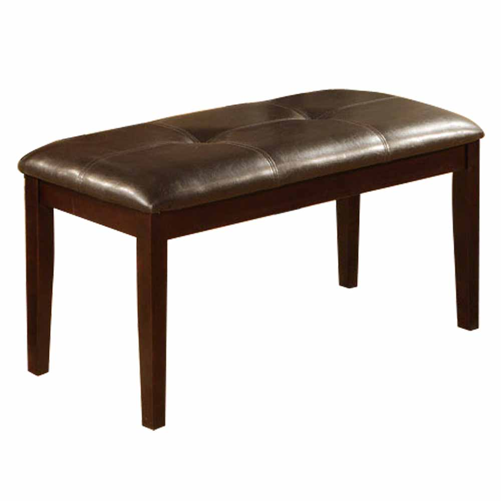 Contemporary Style Dakr Brown Wood Legs Comfort Pu Faux Leather Dining Bench Ebay