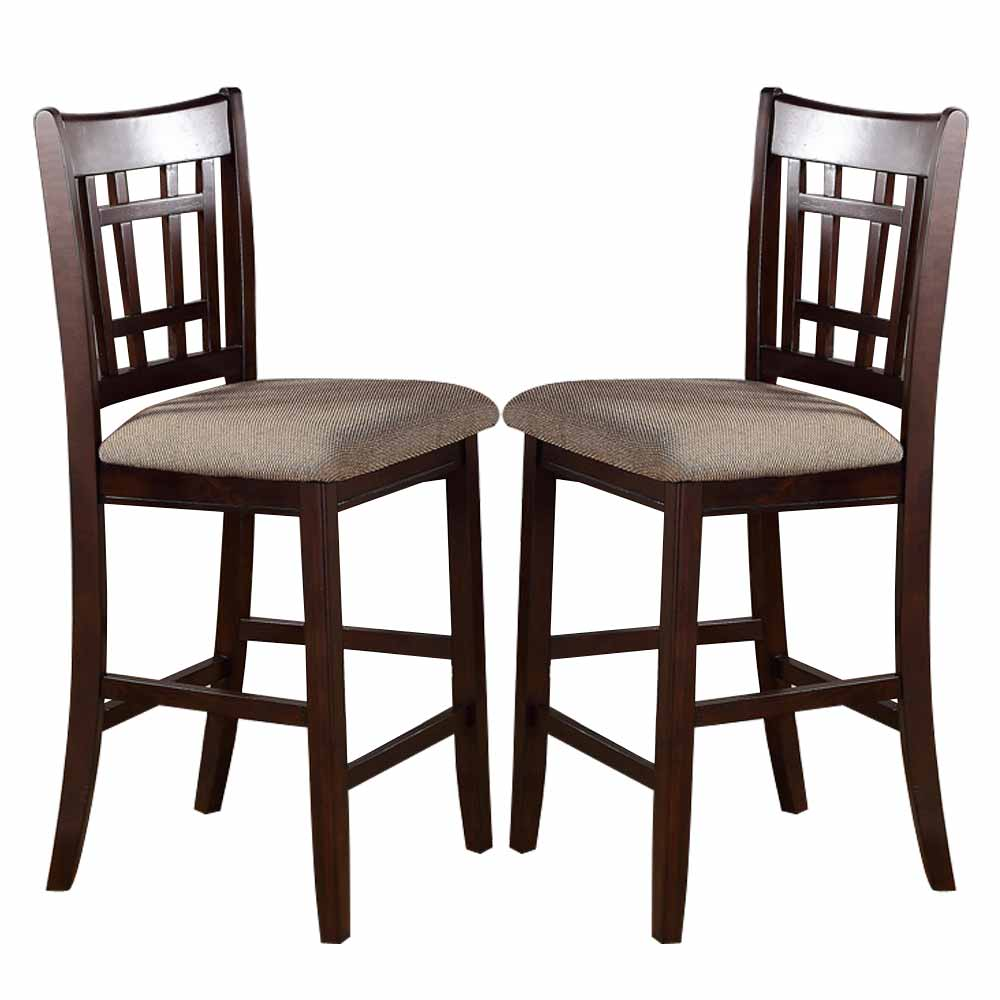2 Pc Dark Rosy Brown Wood Dining Counter Height High 24 H Chairs Stools Fabric Ebay