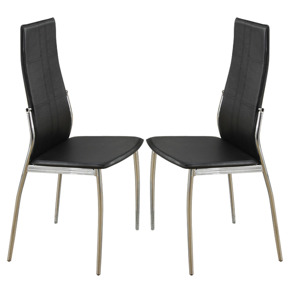 set of 2 modern dining side chairs chair metal frame legs faux leather in black ebay. Black Bedroom Furniture Sets. Home Design Ideas