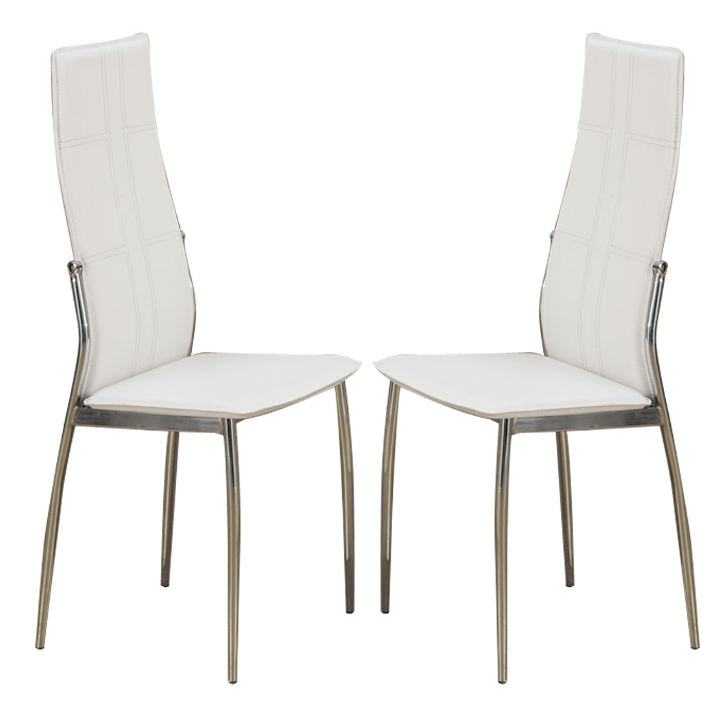 set of 2 modern dining side chairs chair metal frame legs faux leather in white ebay. Black Bedroom Furniture Sets. Home Design Ideas